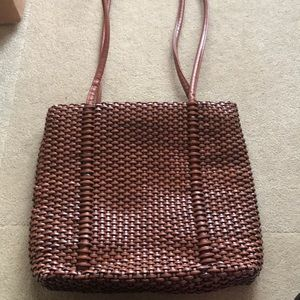 Nine West brown woven leather bag